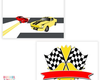 PRINTABLE - Race Car Party Buffet Tents - #DIY #Digital File - BLANK