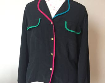 Vintage Chaus black and neon blouse
