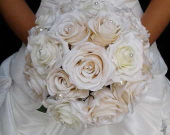 Champagne and Ivory Silk Flower Wedding Bouquet-Ready to Ship Bridal Bouquet