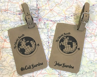 Couples Luggage Tags - Set of 2 - Personalized Luggage Tags - Travel Luggage Tags - Wedding - Bridal Shower Gift - Travel Enthusiast Gift