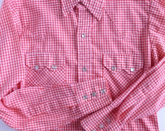 Men's Western Shirt Red and White Gingham with Pearl Snap Buttons Size Small
