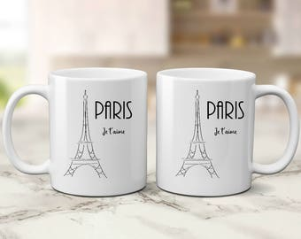 Paris Je t'aime, Paris Coffee mug, Mother's day gift, gift for coworker, Eiffel Tower mug, gift for her, coffee lover gift, Paris lover gift