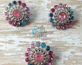 ON SALE Blue & Pink Rhinestone Buttons, 3 Acrylic Buttons, 21mm, Fancy, Sunburst, Baby Headbands, Infant, Hair Bows, DIY Wedding, Crafts 21S
