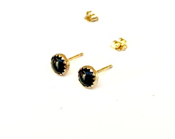 14K SOLID Gold Black Onyx Studs - SOLID Gold 5mm Black Onyx Cabochon Hand Set in 14K Solid Gold