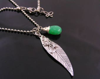 Leaf Necklace, Chrysoprase Necklace, Charm Necklace with Eucalyptus Leaf,  Chrysoprase Jewelry, Chrysoprase Pendant, N1498