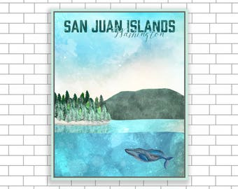 San Juan Islands, Historical Park, Washington, San Juan Canvas, Watercolor Illustrations, National Park Design, Home Decor, Visit Washington