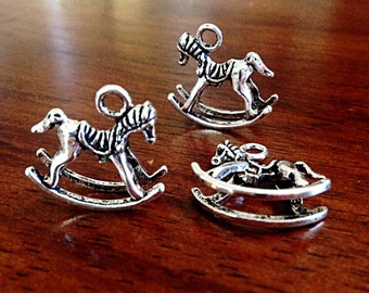 20 Rocking Horses, Antique Silver Charms, Double Sided Rocking House Pendants, 3D Rocking Horse Charms, Craft and Jewelry Supplies, Findings