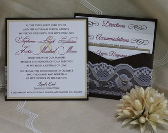 Luxurious Gold and White Lace Customizable Wedding Invitation