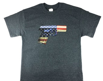 Hand Gun With Colored USA Flag T Shirt Graphic Tee