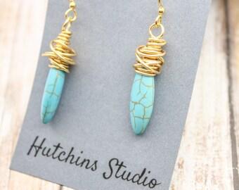 MESSY WIRE Earrings - Marquis Stone Earrings- Turquoise Howlite Earring - Long Oval Stone Earrings - Turquoise Stone Earrings