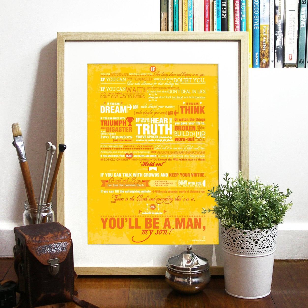 Rudyard Kipling Inspirational Poem Quote IF Typography Art