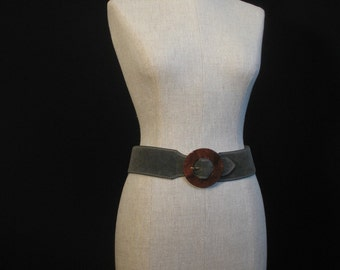 80s Guy Laroche Green Suede Belt 30 NOS