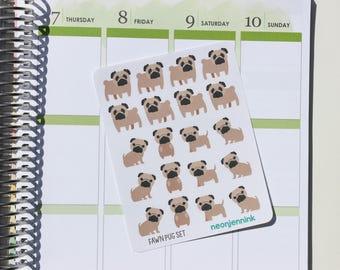 Fawn Pug Sticker Set (Set of 20 Stickers)