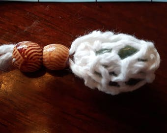 Aquamarine crochet and beaded pendant