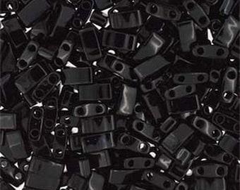 ON SALE Black Opaque Miyuki Half Tila 5mm x 2.3mm x 1.9mm Glass Beads 8 grams