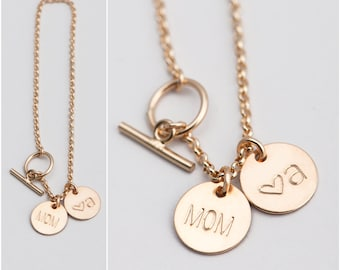 Personalized Bracelet, Gift for Mom, Initial Bracelet, Personalized Gift for Mom, Sister, Dainty Charm Bracelet, in Silver, Gold Fill