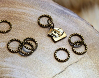 Bronze Love Letter Stitch Markers for Knitting - Twisted Bronze Rings - I Love You Charm - For Knitters - Notions