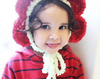 6 to 12m Flower Bonnet Baby Daisy Hat Toddler Hat, Childrens Lime Green Red Petal Flower Bonnet Costume, Flower Girl Hat Flower Prop