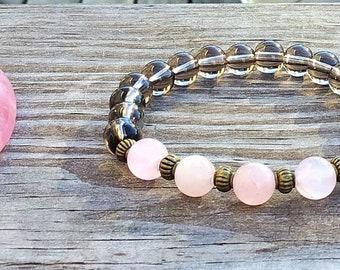 Smoky quartz and rose quartz mala bracelet, crystal healing bracelet, yoga bracelet, Buddhist wrist bracelet