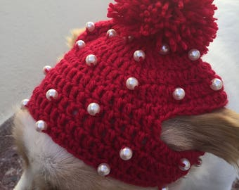 Pets gift,  Pet Accessories, dog accessories, pet hat, dogs gift, hat with pearls, pom pom hat, pom pom for dog Hat for female dog