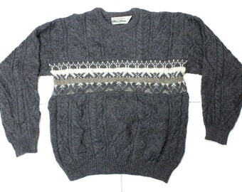Vtg Celtic Country Wool Irish Fisherman Gray Cable Knit Sweater Mens LG Ireland