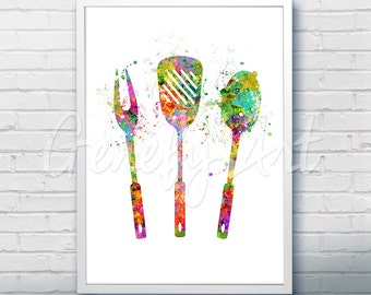 Grill Utensils Watercolor Art Print  - Kitchen Watercolor Art Painting - Kitchen Poster - Kitchen Decor - Home Decor - House Warming Gift