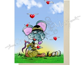 Love, birthday card, fun card, love card, heart, thanks card, card-Valentine card, mouse, Romance card