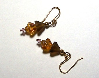Brown and Topaz Czech Glass Flower Bead Earrings by Carol Wilson of Je t'adorn
