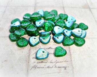 20 Emerald Green Czech Glass Beads Heart Shaped Leaf Beads