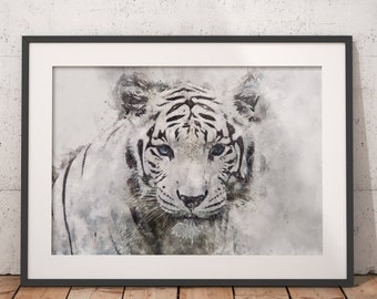 White Tiger Print, White Tiger Poster, Tiger Wall art, Printable art, WhiteTiger wall art,Tiger Wall decor, Tiger Poster, Wild Animal poster