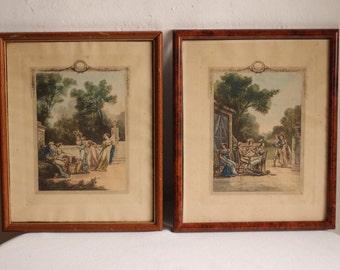 Paire de charme Français Antique encadrée peint à la main des gravures / Circa 1800/1810 / Époque Vintage