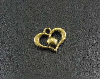 30pcs Antique Bronze Heart Charms A1452