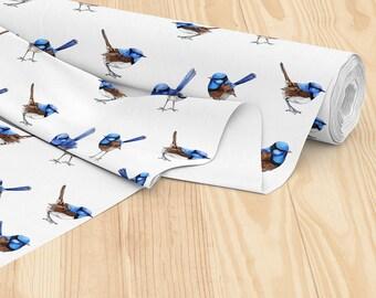 Blue Wren Watercolor Australian Designer Fabric Australia Fairy Wren Bird, Printed Cotton by the yard | Ships from USA, Free Ship Worldwide