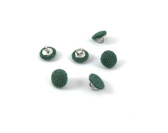 Set of 6 green fabric-covered metal buttons