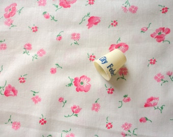 pretty pink floral print vintage cotton fabric -- 39 inches wide by 1 1/2 yards
