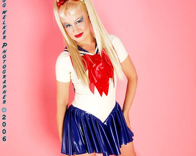 Featured listing image: Sailor Moon Costume.  Bodysuit with attached bows, sailor scarf and skirt.