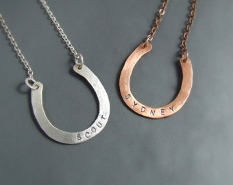 Personalized horseshoe necklace, custom hand stamped silver or copper equestrian jewelry, women birthday gift for horse lovers