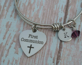 Child's First Communion bracelet // First Holy Communion // stainless steel bracelet // birthstone bracelet // First Holy Communion gift