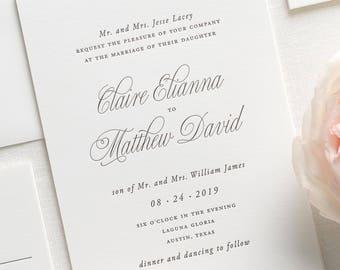 Garden Elegance Letterpress Wedding Invitations - Deposit