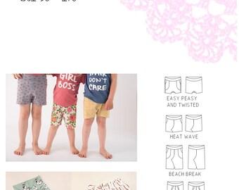 PDF- mönster Summer is Short(s) collection - 4 olika modeller stl 50-170