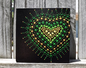 Green and Yellow Lace Heart Mandala Handpainted on 6x6 Canvas