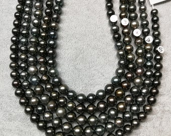 Ultra-Luster Round/Near Round High Luster Tahitian Pearl Necklace Strands Most beautiful Color - LOT45
