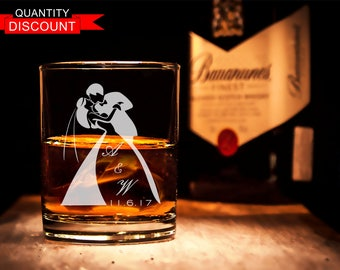 Personalized Wedding Glasses  for Whiskey , Rocks Glass, Engraved glass, Groomsmen glass, Personalized glass, wedding gifts, Groomsman gift