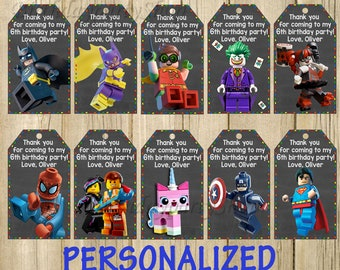The Lego Movie Favor Tag, Lego Thank You Tags, Personalized, Digital File