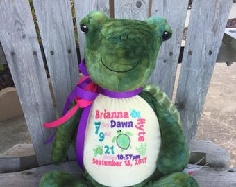Personalized Stuffed Turtle,  Plush Turtle, Personalized Stuffed Animal, Custom baby gift, Adoption Gift, Shower Gift Sea Creatures