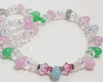 Pastel Jade and Crystal Necklace, Spring Pastel Necklace, Easter Necklace, Pastel Multicolor Necklace, Spring Fashion