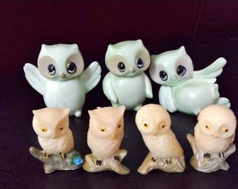 Miniature Plastic Owls Vintage Seven Mini Figurines Animal Birds