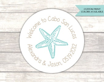 Wedding welcome stickers - Wedding welcome bag stickers - Starfish stickers - Beach wedding favors (RW052)