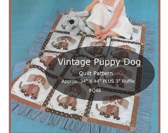 Puppy Dogs Quilt Pattern Puppy Dog Sewing Dog Quilt  'Great Scrap Pattern' Vintage Pattern #Q48 PDF-  Mailed Copy Available DurhamDeals