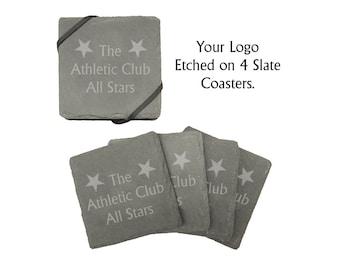 Custom Etched Slate Coasters - Set of 4